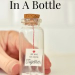 Pinterest image that says diy message in a bottle