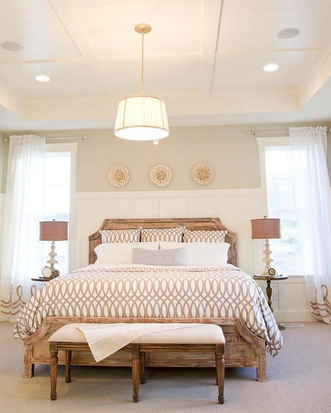 coffered tray ceiling in bedroom