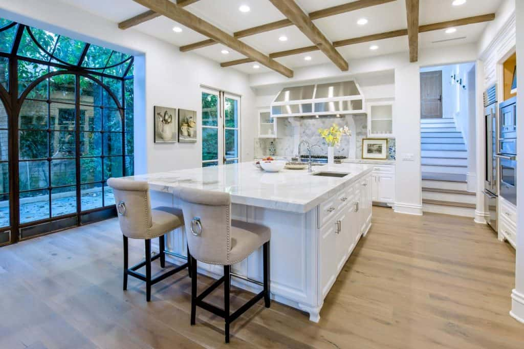kitchen with painted wood coffered ceiling