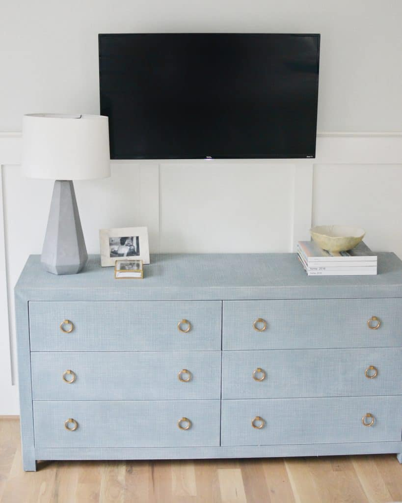 driftway dresser from Serena and lily and a tv mounted above it