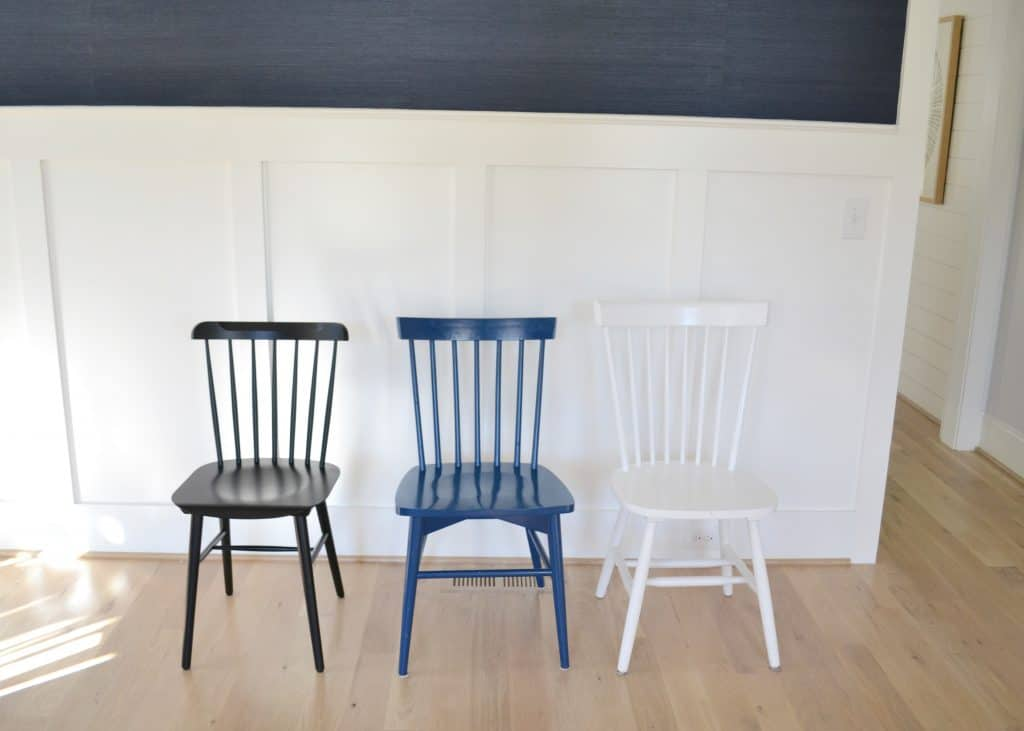 a black, blue and white Windsor chair including serena & lily tucker chair