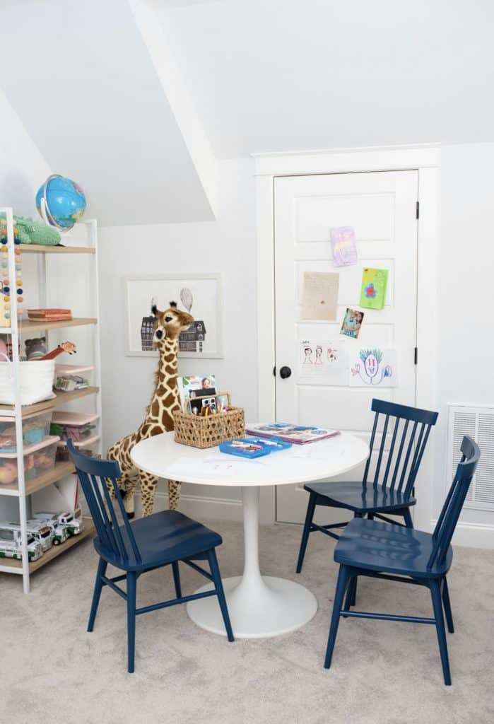 a playroom kids table with 3 target Windsor chair