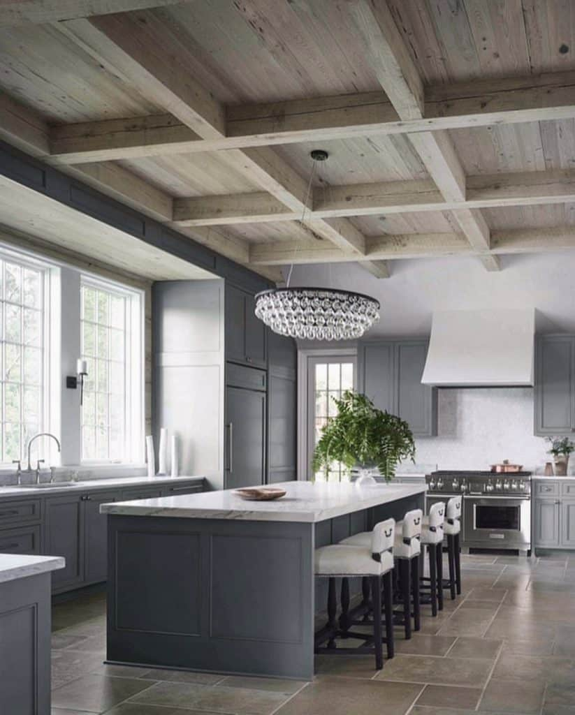 rustic wood coffered ceiling