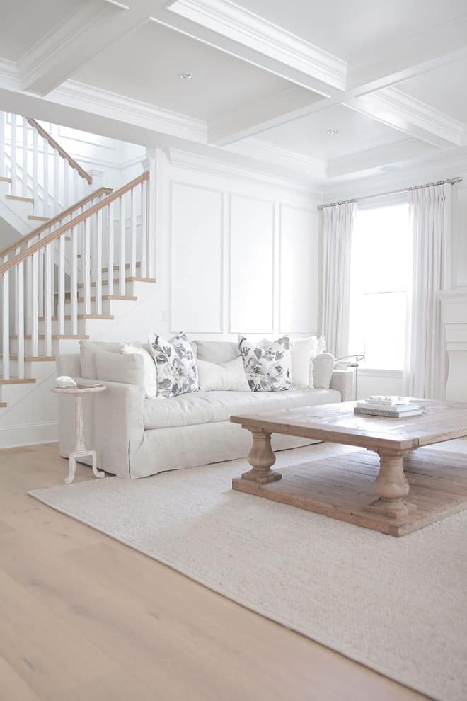 white living room walls with white coffered ceilings