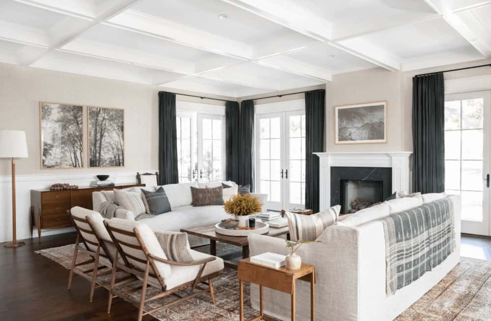 amber interiors living room coffered ceiling