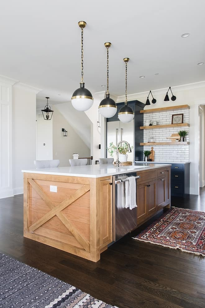 kitchen with navy and wood kitchen island