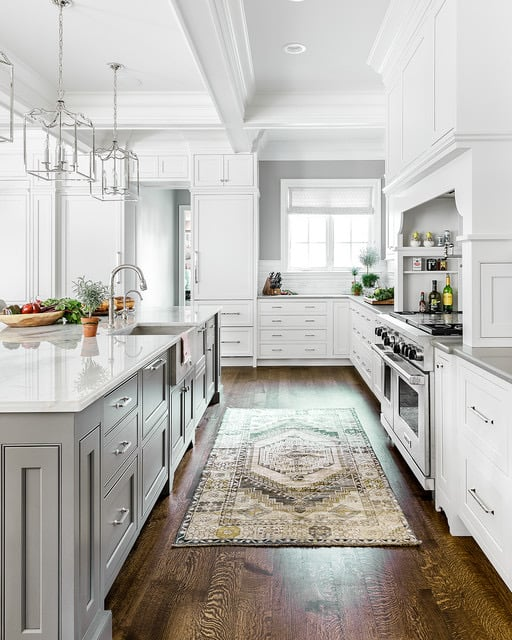 kitchen with coffered ceilings
