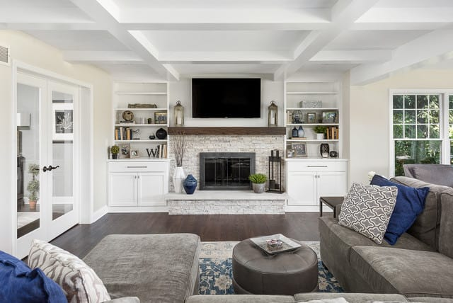 coffered ceiling done in a modern way in a living room