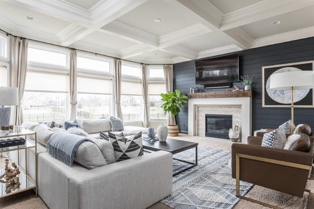 living room with black shiplap walls
