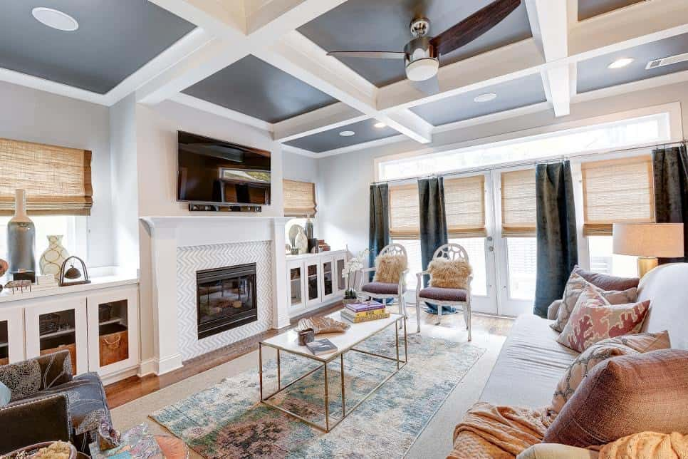 coffered ceiling painted inside the boxes