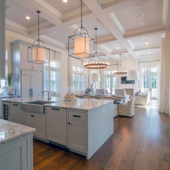 coffered ceiling from the living room into the kitchen