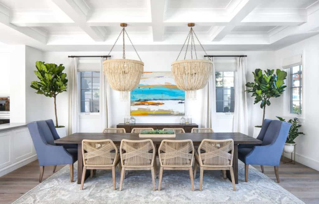 large dining room with coffered ceiling