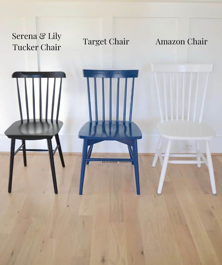 black Serena & lily tucker chair next to a navy and white chair