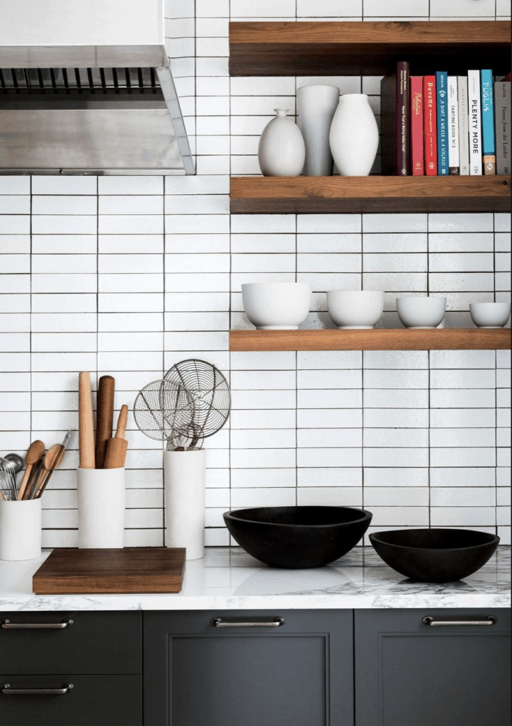 stacked subway tile in a kitchen