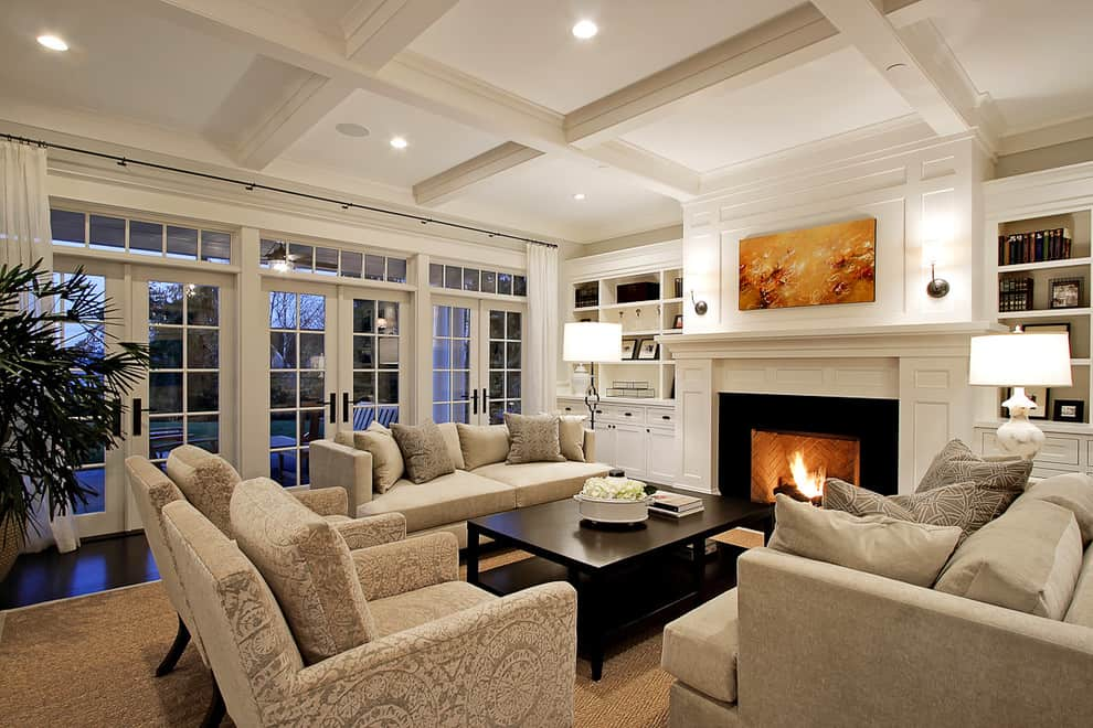 traditional living room coffered ceiling