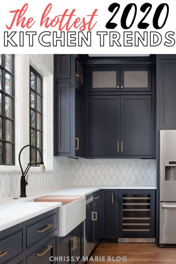 pinterest image with text that says kitchen trends 2020