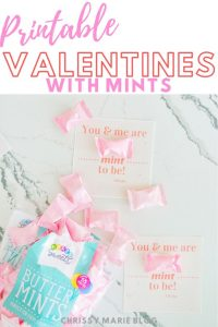 pinterest image that says printable valentine cards with mint