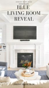 pinterest image that reads blue living room reveal
