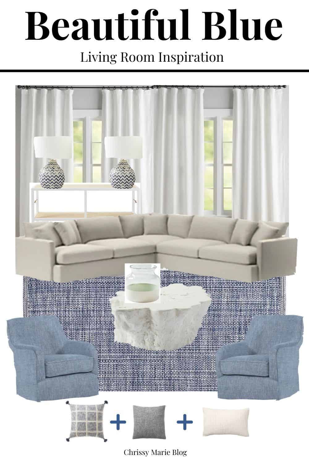 blue living room inspiration with photos of a living room
