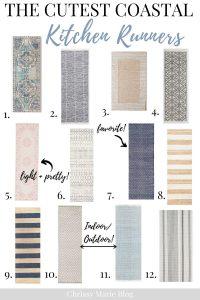 Pinterest image that says best coastal kitchen runner rugs