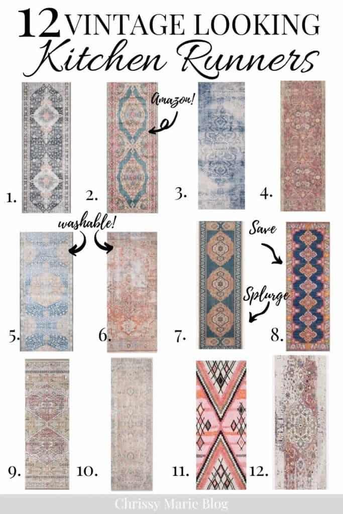 Pinterest image that says vintage looking rug runners