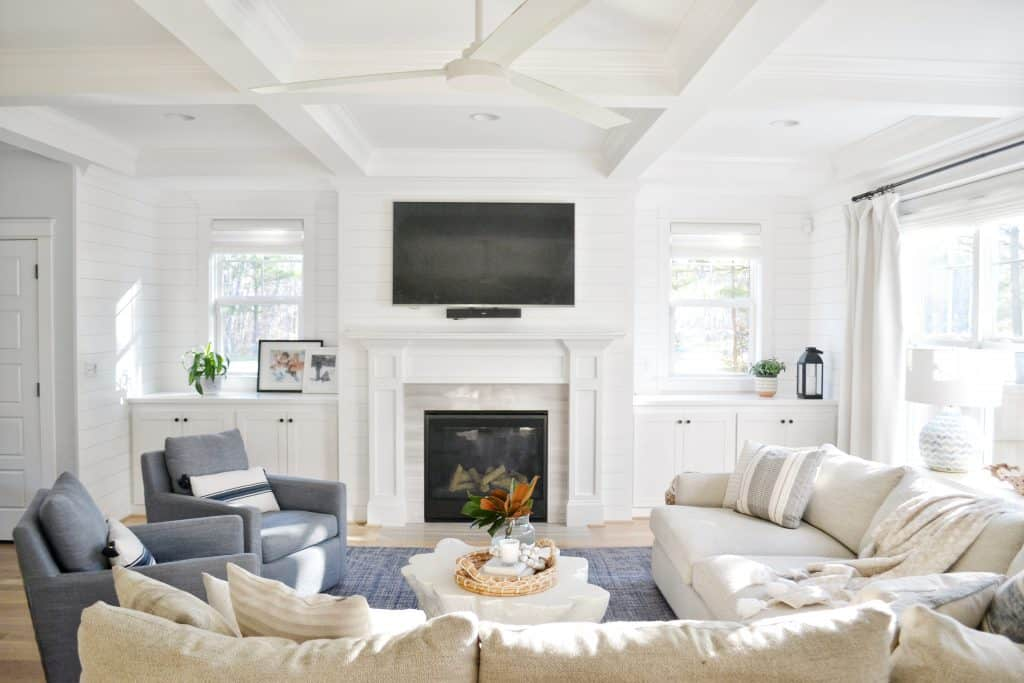 a coffered ceiling in Chrissy Marie Blog living room