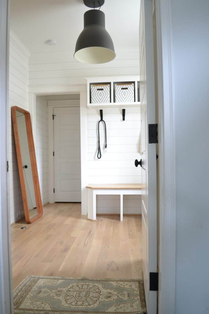 mudroom with, an amazon home find, an Ikea hector pendant lamp