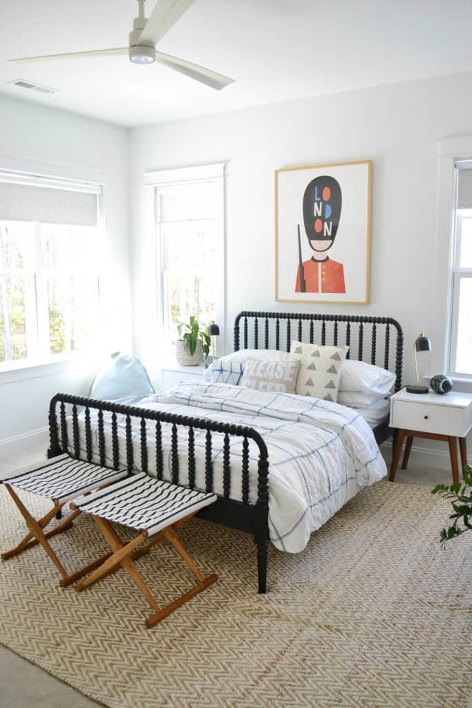 black Jenny linen bed in a bedroom