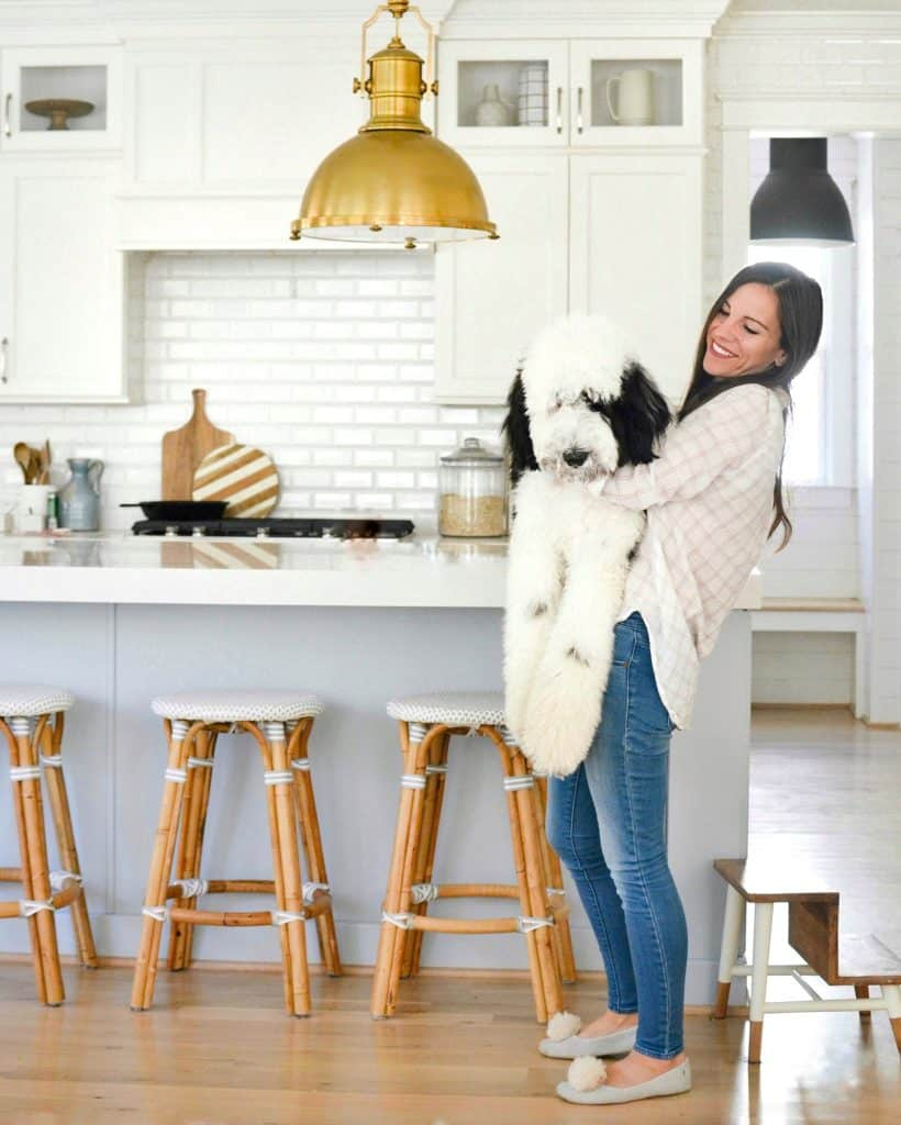 Chrissy Marie blog holding giant sheepadoodle