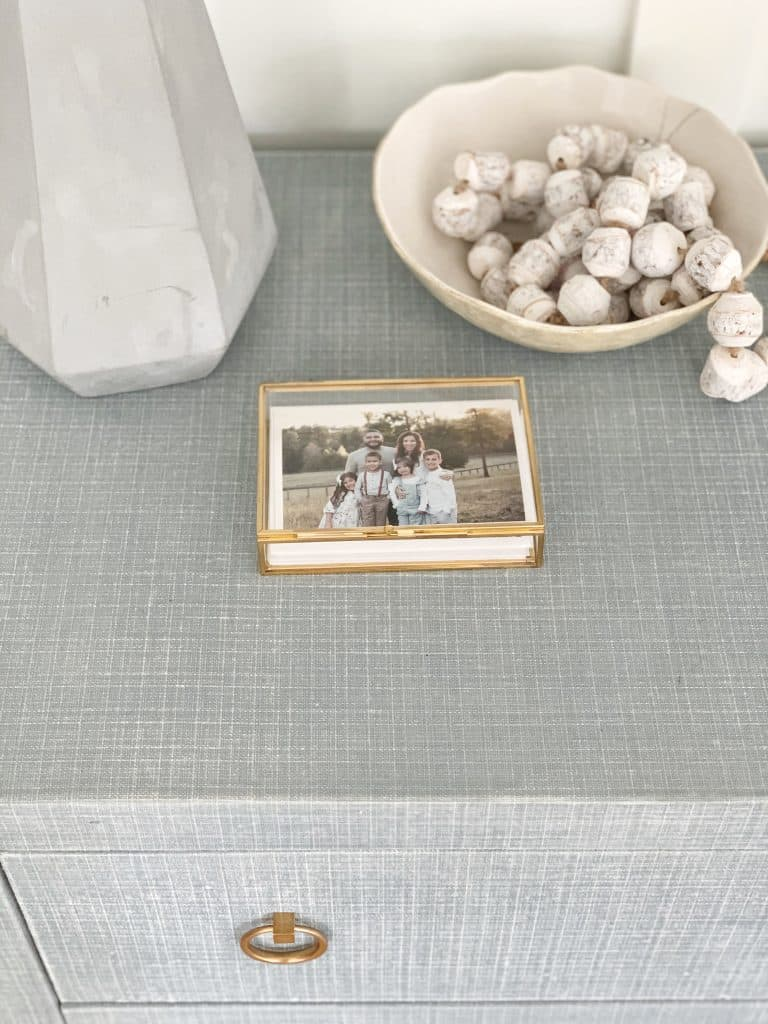 a glass keepsake box on a dresser from 1st 28 photography