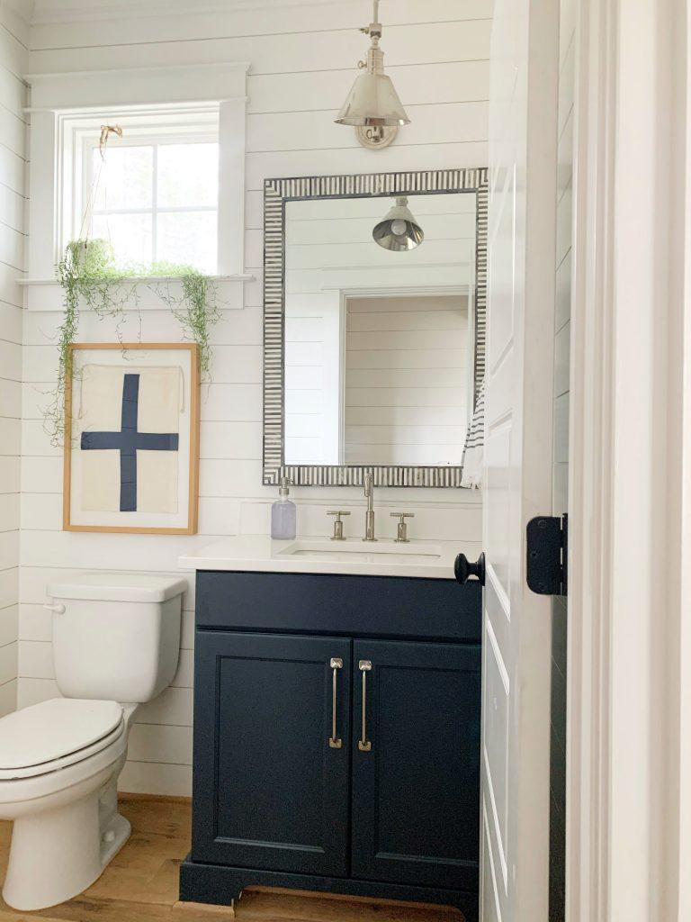 bathroom with painted hale navy vanity