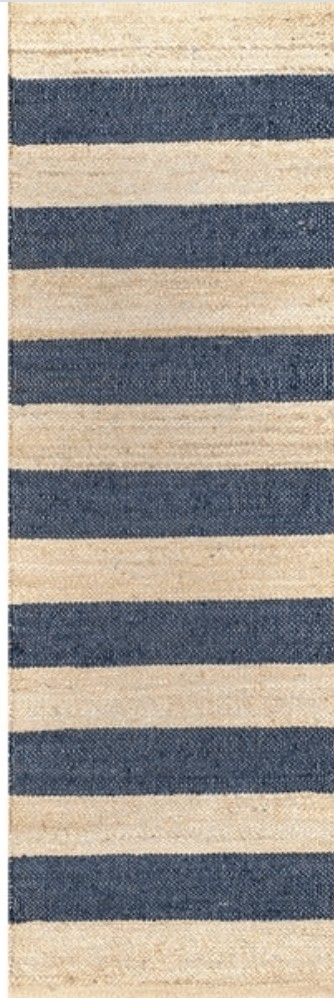 jute runner with navy stripes
