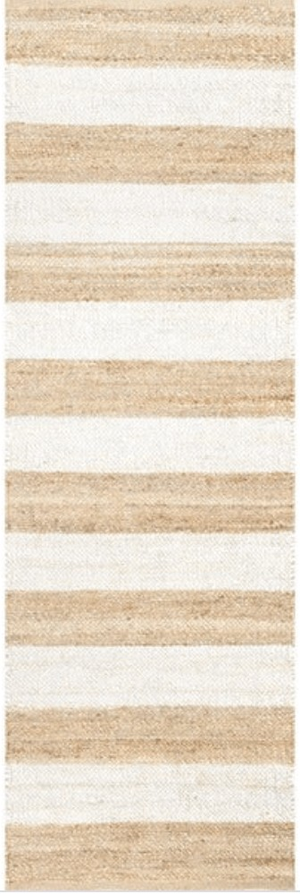 jute and cotton runner rug in stripes
