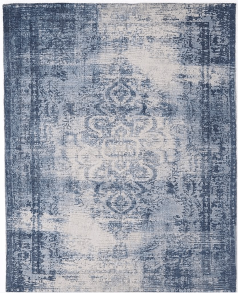Blue west elm vintage looking rug