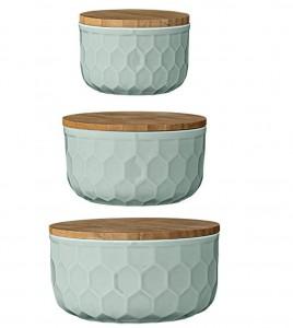3 green bowls