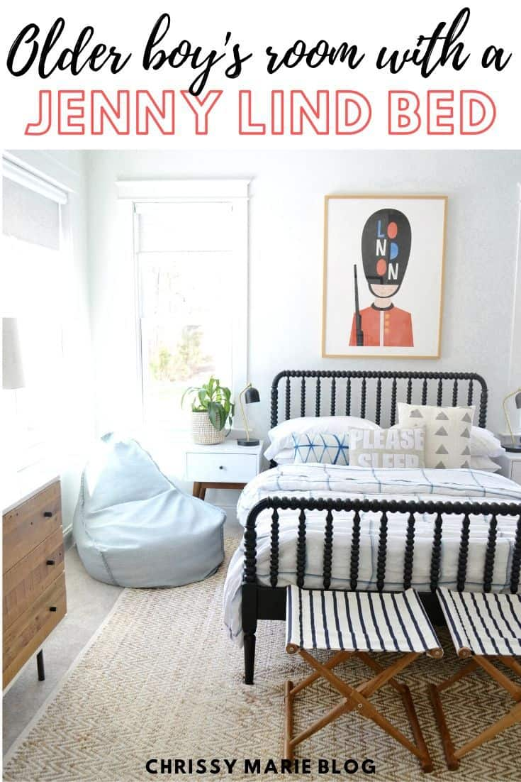 pinterest image that says Jenny Lind bed boys room