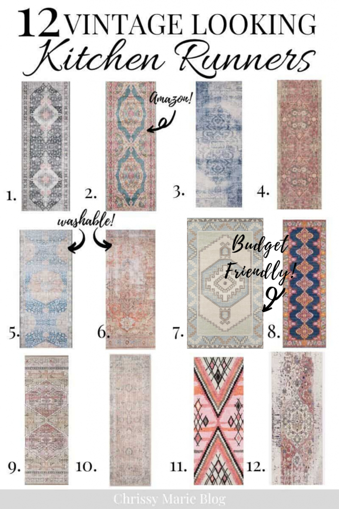pinterest image of vintage kitchen runner rugs