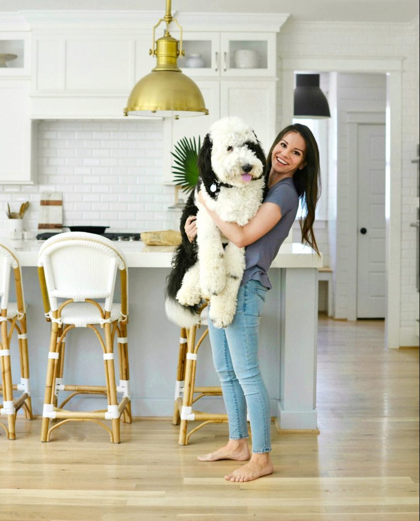 a girl in a kitchen holding a large sheepadoodle