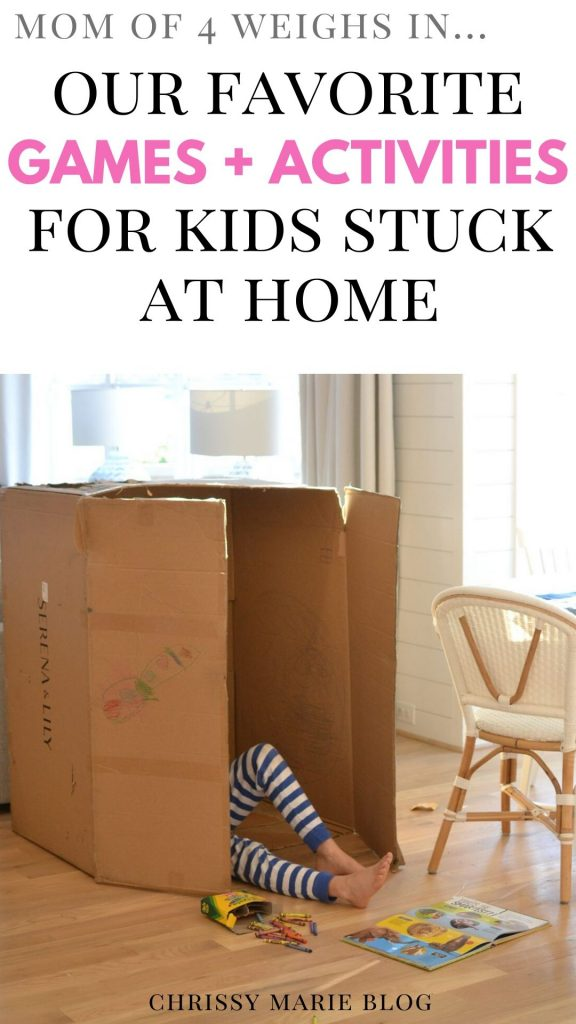 pinterest image that readsactivities for kids stuck at home