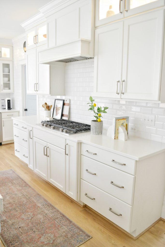 kitchen with a small lemon tree on the counter