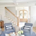 2 blue chairs in a living room spring home tour