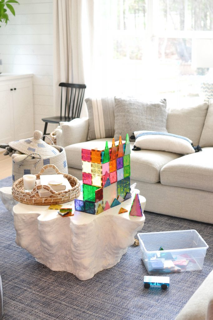 magnatiles on a coffee table in a home- perfect activity for kids at home