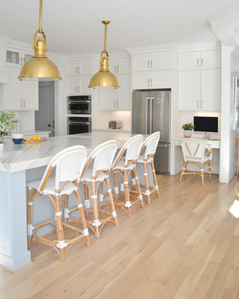 kitchen with 4 bistro stools and riviera bistro chair at a desk
