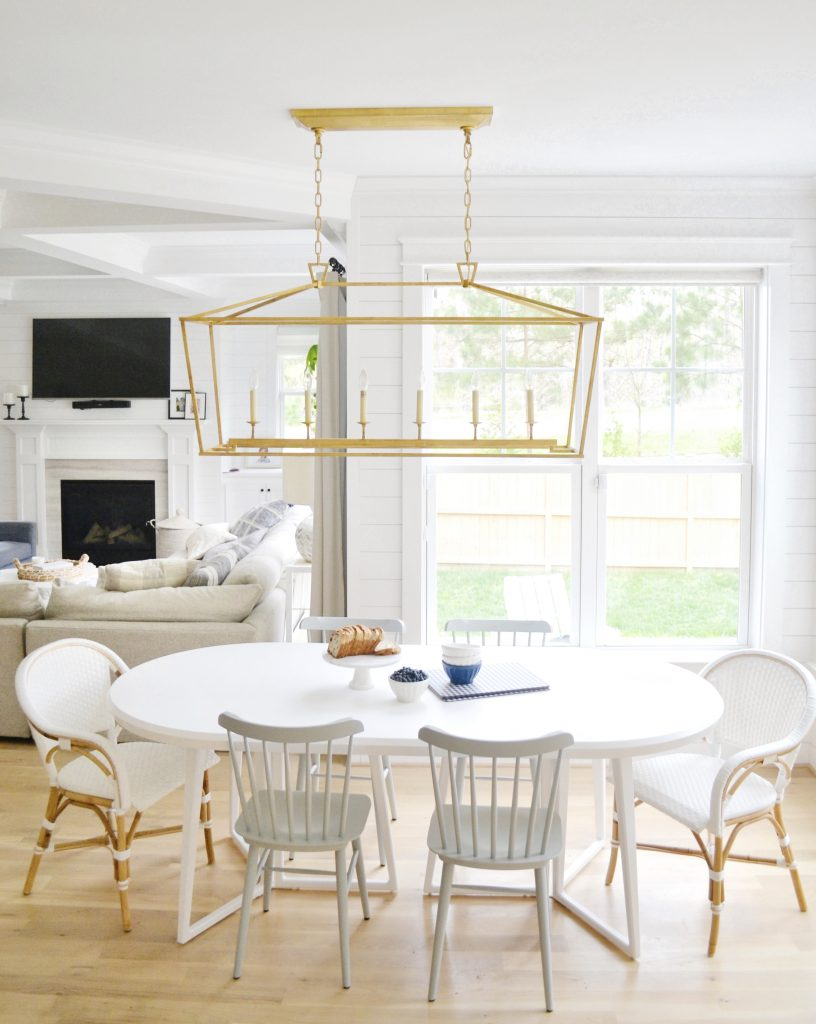 white downing table with bistro chairs in a kitchen