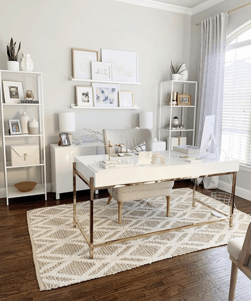 white and brass feminine desk