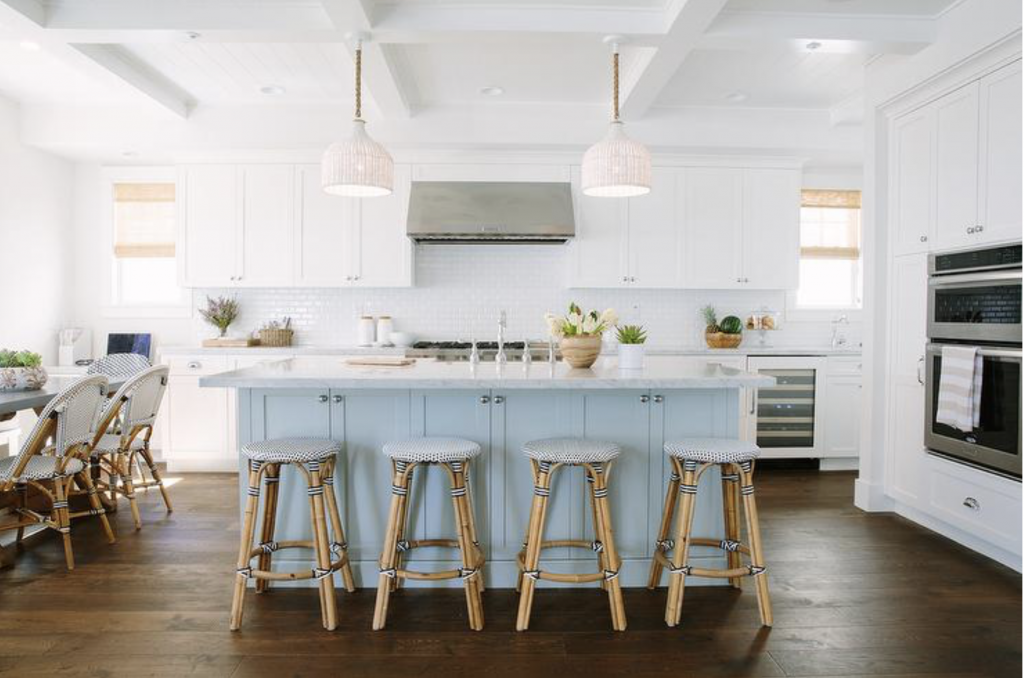 backless stools at an island in kitchen