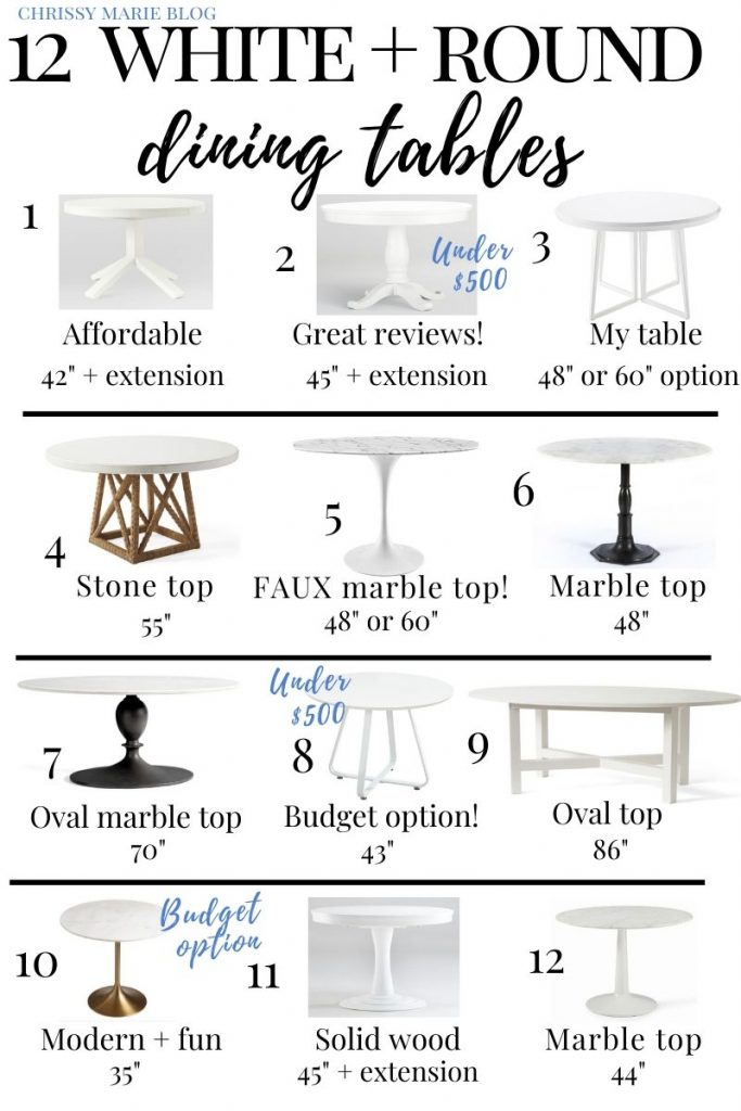 pinterest image of 12 white round dining tables