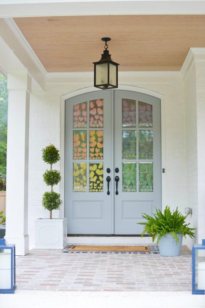 blue double front doors
