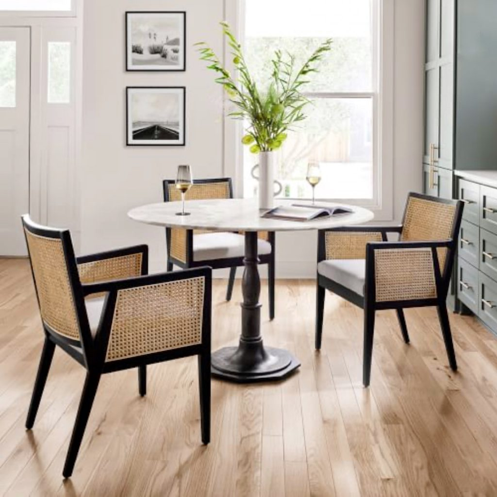 small marble top with black base white round dining table