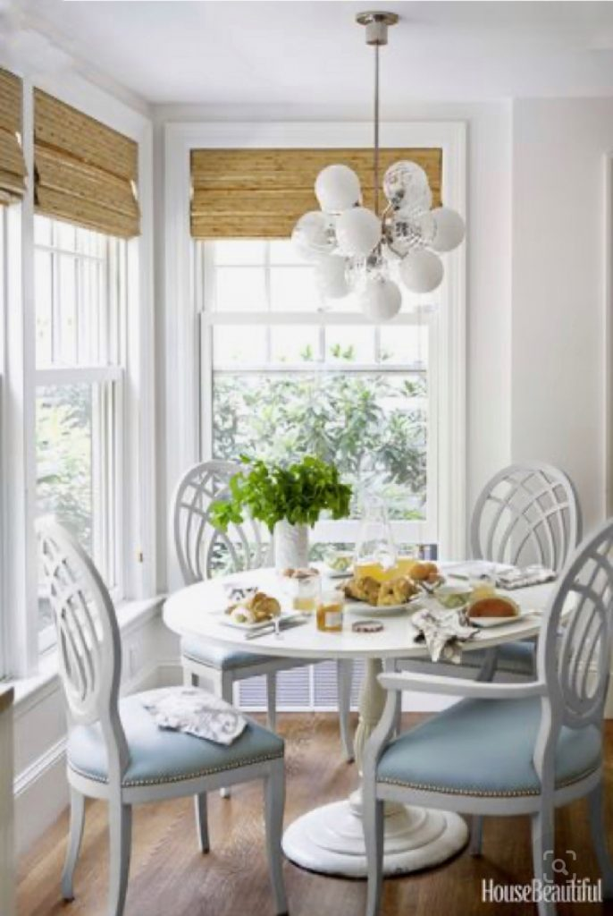 breakfast nook with white table